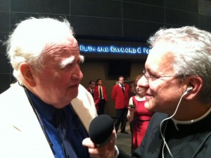 Fr. Jay Finelli (iPadre Podcast) with actor Malachy McCourt (Monsignor)