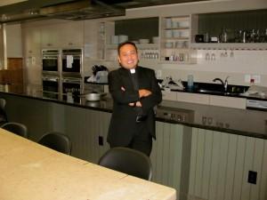 Father Leo in new seminary kitchen