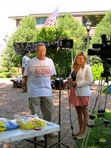 Rally organizer, Harry Koenig in media interview with CBS-19 reporter