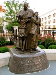 Statue in Pope John Paul II Memorial Garden at Baltimore Basilica