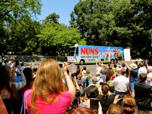 Crowd welcomes the Nuns on The Bus Tour on Capitol Hill