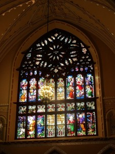 Gorgeous stained glass at Shrine of St. Anne for mothers