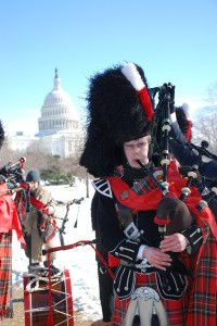 Bagpiper playing Hail Holy Queen