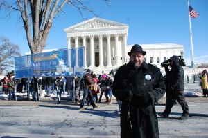 Monsignor Charles Pope in front of the Supreme Court