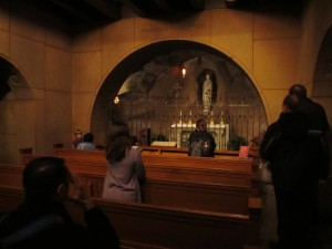 Pilgrims arriving to pray at Our Lady of Lourded Chapel