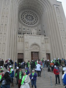 Many arriving at the Basilica of the National Shrine of the Immaculate Conception for prayers and Masses.