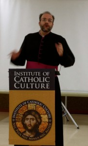 Monsignor Charles Pope talking at the Insitute of Catholic Culture