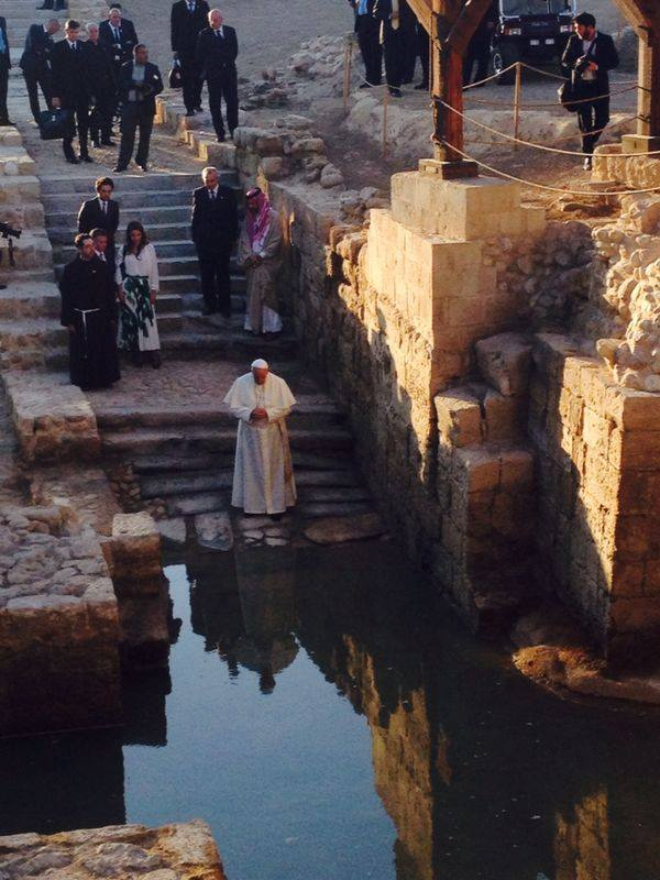 Pope Francis at the River Jordan (site where Jesus was Baptized)