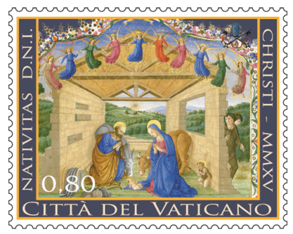The Vatican's 2015 Christmas stamps feature a manuscript illumination of the Holy Family by an unknown artist from the 15th century. The image is from the Codices Urbinates Latini 239 (1477-1478) at the Vatican Library. (CNS photo/courtesy Vatican Philatelic and Numismatic Office) See VATICAN-CHRISTMAS-STAMPS Nov. 23, 2015. EDITORS: 900x719 pixels, best quality available.