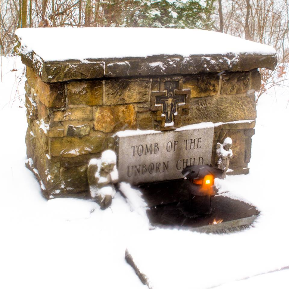 The Tomb of the Unborn Child, wherein lie the remains of seven babies killed in abortions. — at Franciscan University of Steubenville.