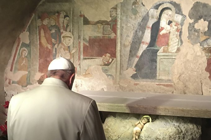 Pope Francis visits the place of the first nativity scene in Greccio, Italy on Jan. 4, 2015. Credit: L'Osservatore Romano