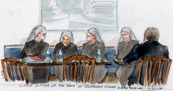Supreme Court sketch artist captures the Little Sisters of the Poor at lunch break for oral arguments of their case.