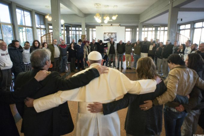 Pope Francis prays with staff and patients at the Fr. Mario Picchi Italian Center for Solidarity in Marino, Feb. 26, 2016. Credit: © L'Osservatore Romano