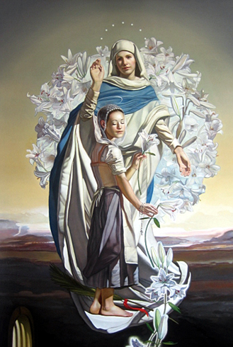 St. Maria Goretti with the Blessed Mother.