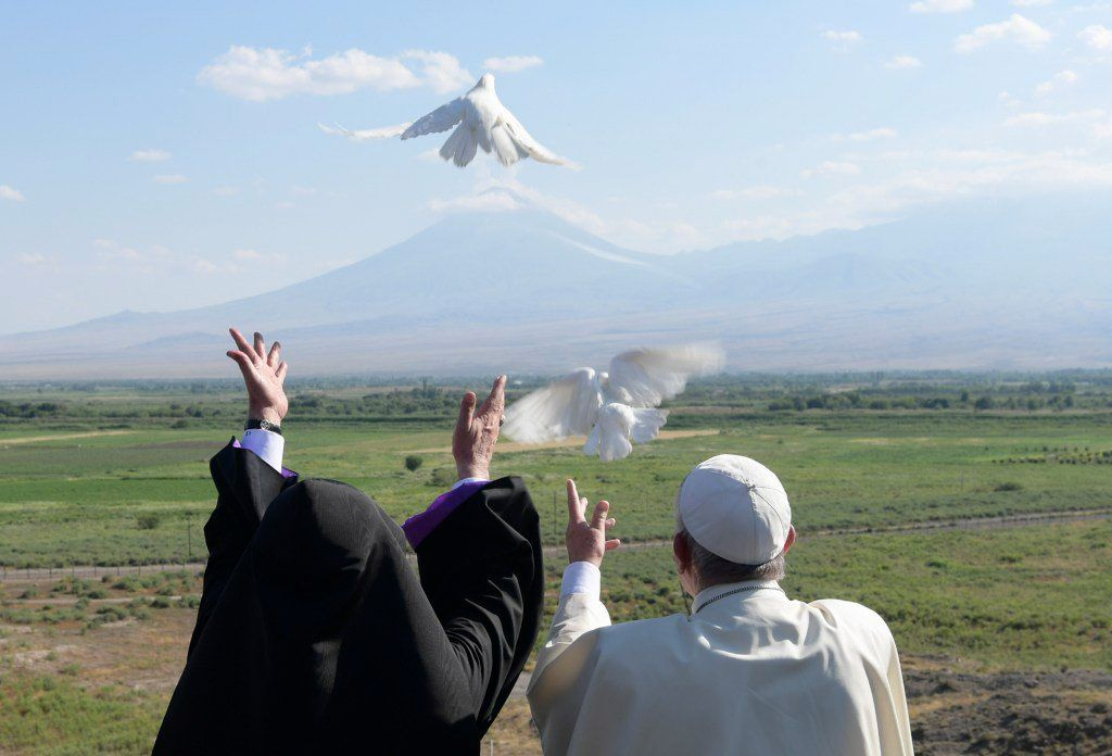 Pope Francis and the Catholicos of all Armenians Karekin II releasing doves at the foot of Mount Ararat in Armenia on June 26th (Catholic News Service)