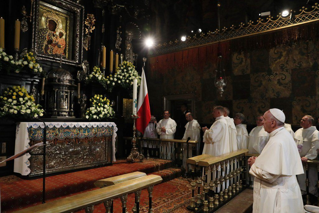 Pope Francis prays in the chapel of the Black Madonna at the Jasna Gora Monastery in Czestochowa, Poland, July 28. (CNS photo/Grzegorz Galazka, pool)