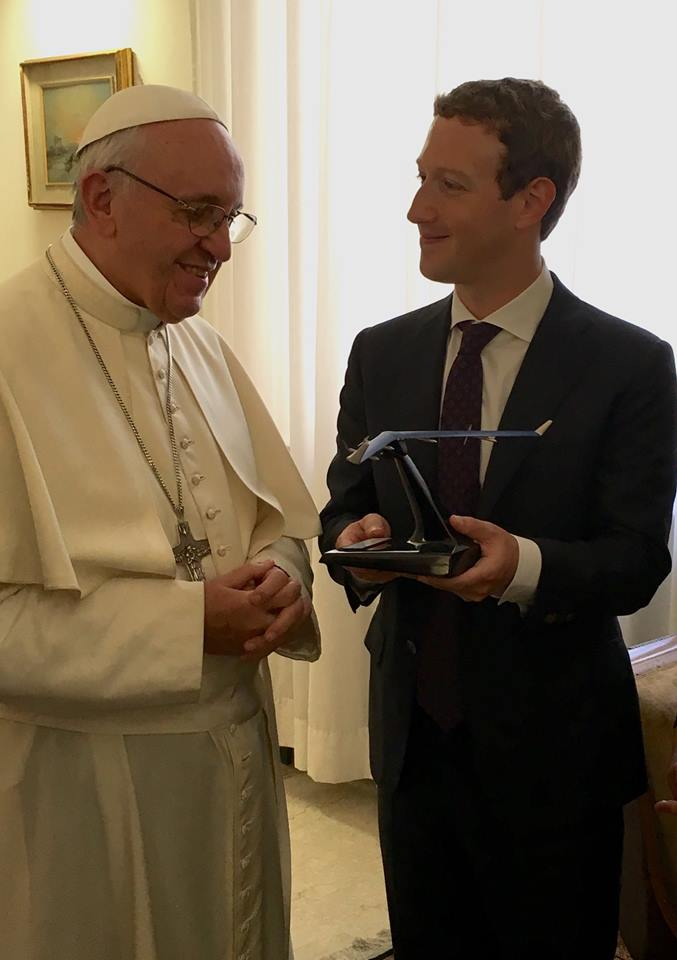 Priscilla and I had the honor of meeting Pope Francis at the Vatican. We told him how much we admire his message of mercy and tenderness, and how he's found new ways to communicate with people of every faith around the world. We also discussed the importance of connecting people, especially in parts of the world without internet access. We gave him a model of Aquila, our solar-powered aircraft that will beam internet connectivity to places that don't have it. And we shared our work with the Chan Zuckerberg Initiative to help people around the world. It was a meeting we'll never forget. You can feel his warmth and kindness, and how deeply he cares about helping people. -- Mark Zuckerberg, founder of Facebook