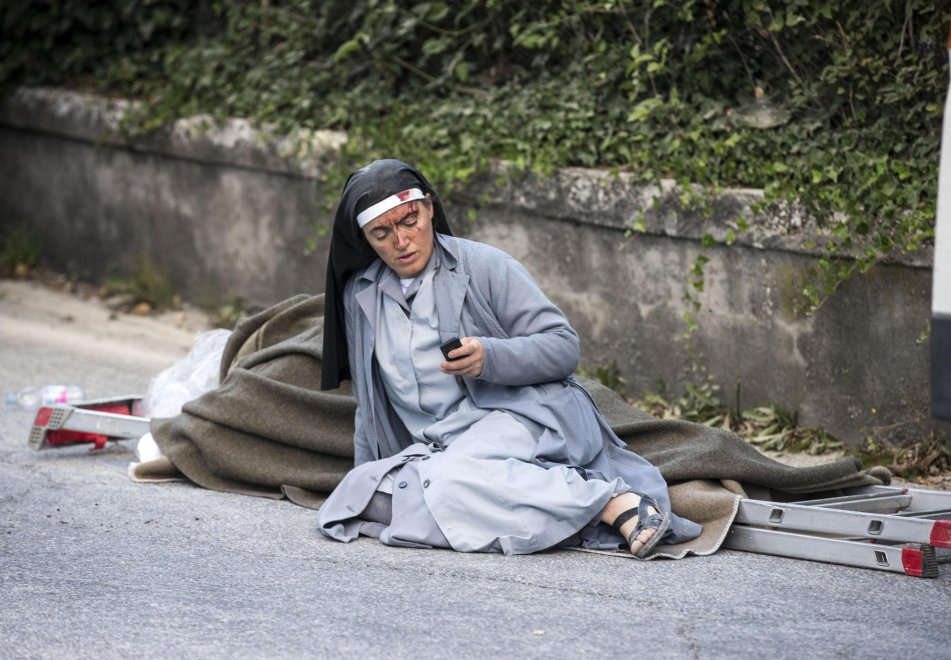 Nun recovering after convent collapse in earthquake in Amatrice, Italy. Prayers for all the victims and recovery workers.