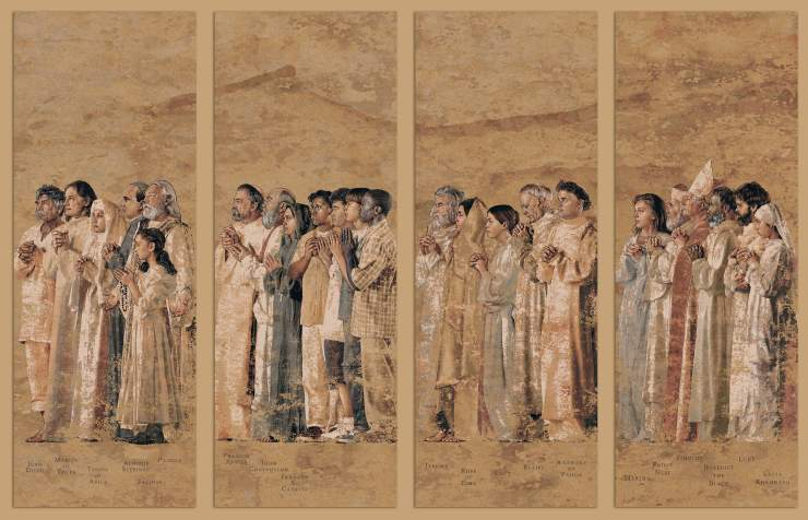One of the tapestries created by artist John Nava for the Cathedral of Our Lady of the Angels in Los Angeles, California.