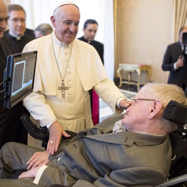 Pope Francis meets scientist including Stephen Hawking at The Vatican -- Instagram There are also many encouraging signs of a humanity that wants to respond, to choose the common good, and regenerate itself with responsibility and solidarity.""